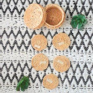 """NWT"" Vintage Wicker Coasters Set of 5"